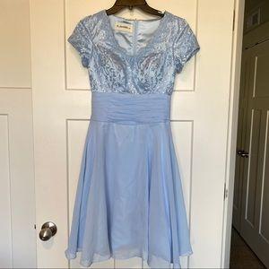 Dresses & Skirts - Light Blue Lace Short Sleeve Party Dress